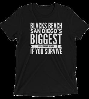 Blacks-Beach-Surf-Spot-Solid Black tshirt