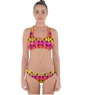 Bikini hipster set neon sunset and palm trees