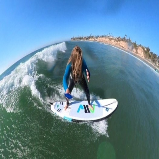 MSW inflatable surfboard - surfing on it at Tourmaline